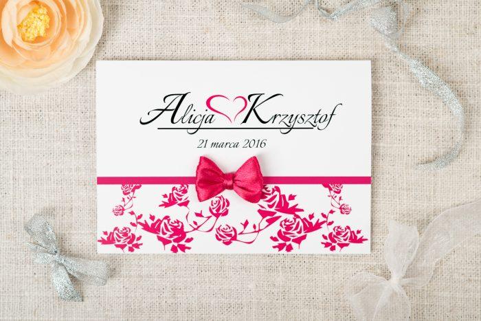 tanie zaproszenie ślubne ornament różowe