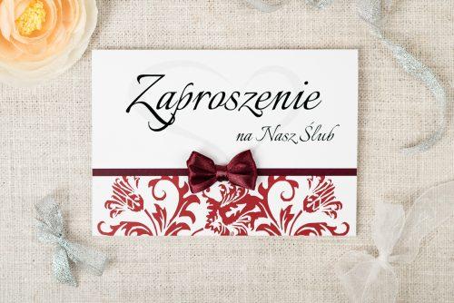 zaproszenie ślubne ornament z kokardką czekoladowe