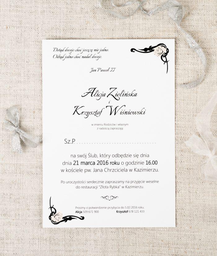środek zaproszenia ślubnego ornament z kokardką