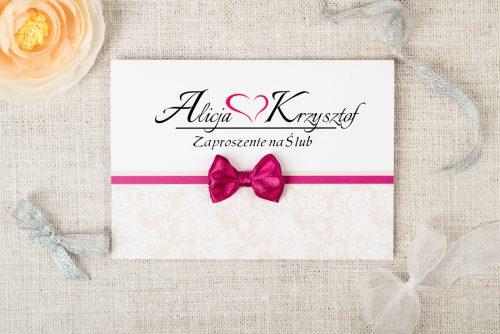 tanie zaproszenie ślubne z koronką i kokardką różowe