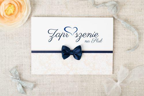 niebieskie zaproszenie ślubne z koronką