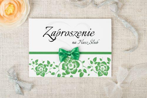 zaproszenie ślubne ornament z kokardką zielone