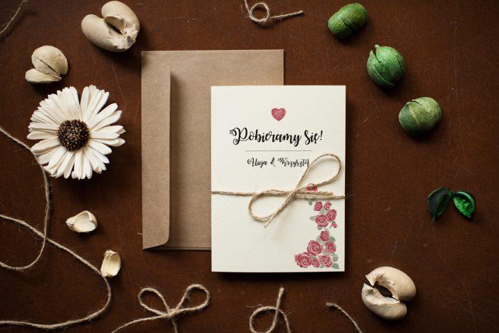 Różyczki tanie zaproszenie ślubne
