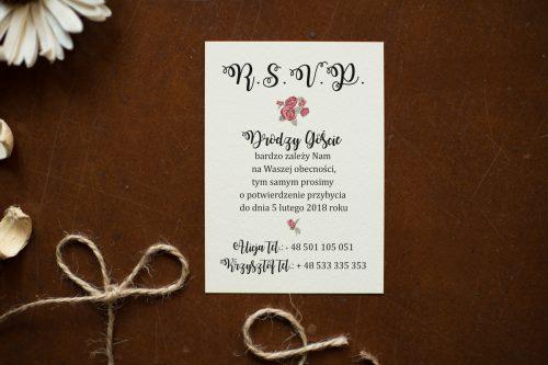 Różyczki karteczka dodatkowa do zaproszenia ślubnego