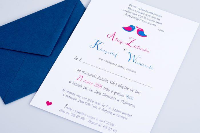 środek zaproszenia ślubnego red blue