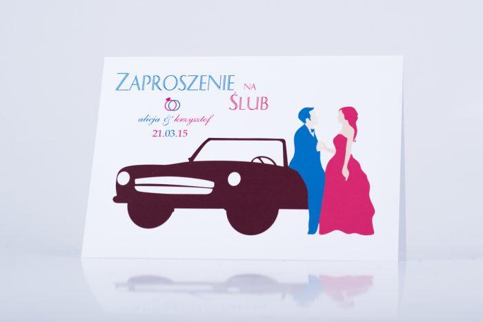 zaproszenie ślubne para młoda i auto