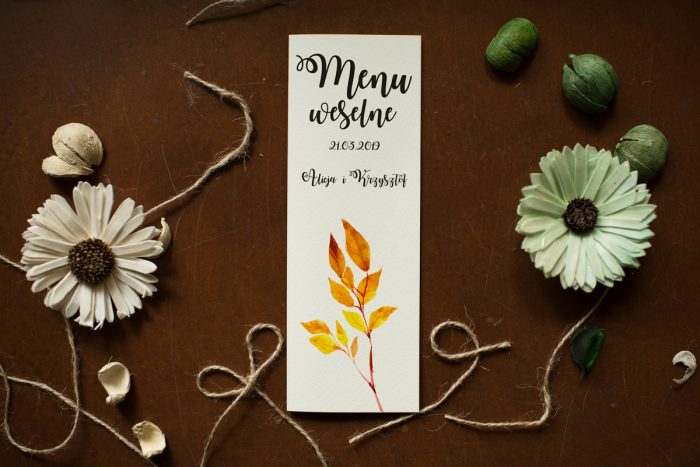 menu-weselne-pasujace-do-zaproszenia-kwiaty-sloneczniki-papier-satynowany