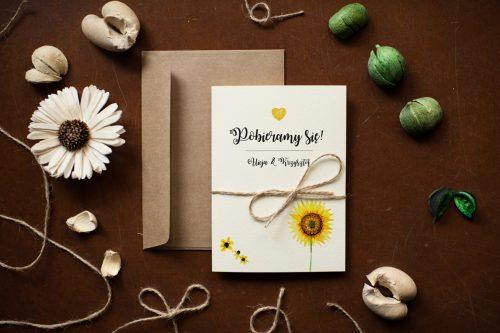 Słoneczniki zaproszenie ślubne rustykalne
