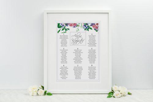 tablica planu stołów w kwiaty