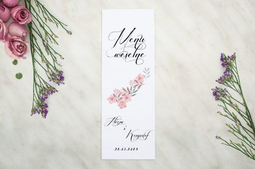 Menu weselne do zaproszenia Wianuszki - Pudrowe kwiaty