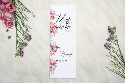 Menu weselne do zaproszenia Wianuszki - Delikatne kwiatuszki