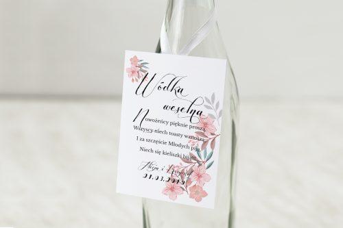 Zawieszka na alkohol do zaproszeń Pudrowe kwiaty