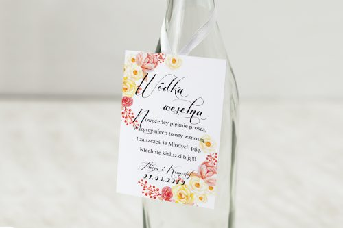 Z-Miłości - Zawieszka na alkohol do zaproszeń Akwarelowe róże