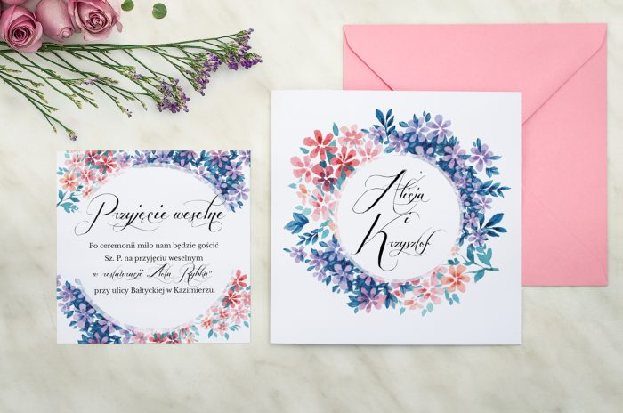 zaproszenie ślubne wianuszki delikatne kwiatuszki