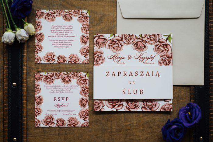 Dodatkowa karteczka do zaproszeń Kwadratowa kartka: Różyczki