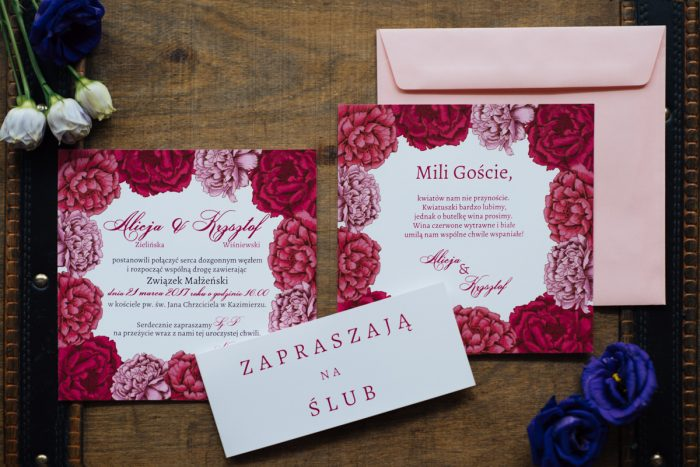 Dodatkowa karteczka do zaproszeń Kwadratowa kartka: Piwonie