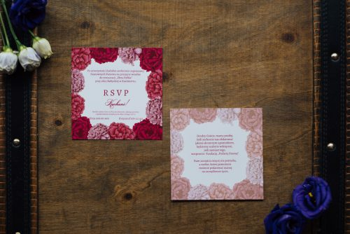 kwadratowa kartka dodatkowa karteczka wkładka piwonie