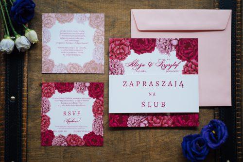 zaproszenie ślubne kwadratowe kwiatowe piwonie
