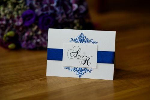 zaproszenie ślubne 3d z niebieską wstążką