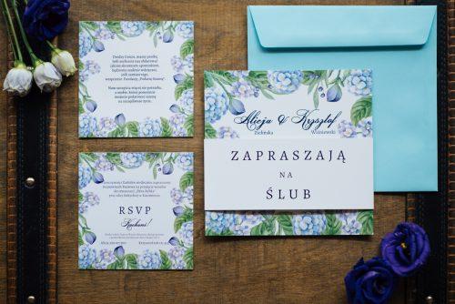 Zaproszenie ślubne kwiaty hortensje niebieskie