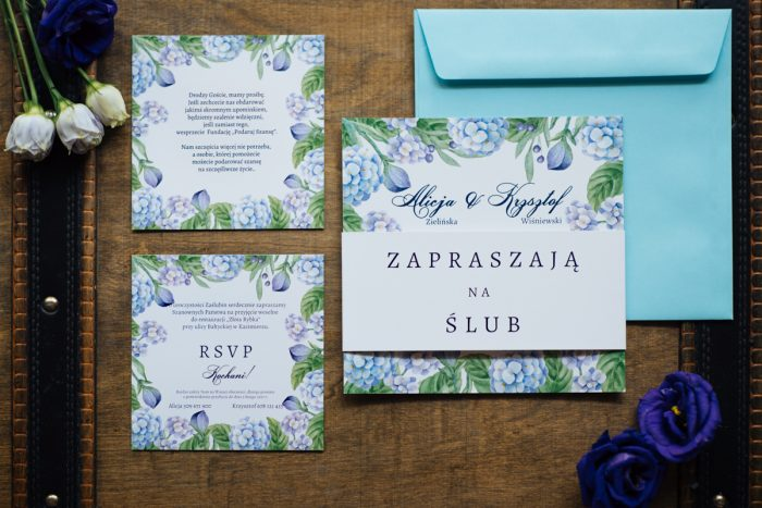 zaproszenie-slubne-kwadratowa-kartka-hortensje-papier-satynowany-koperta-bez-koperty