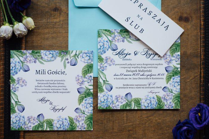 Dodatkowa karteczka do zaproszeń Kwadratowa kartka