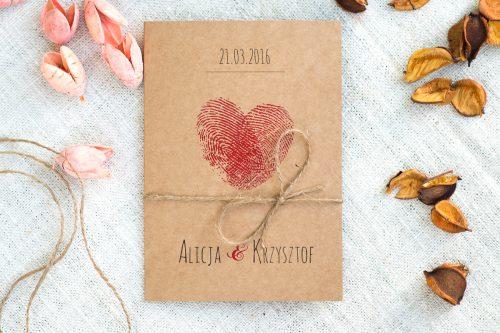 zaproszenie ślubne w stylu eco linie papilarne serce eko