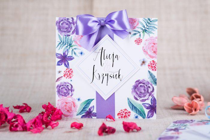 Zaproszenie ślubne Fioletowo-różowe