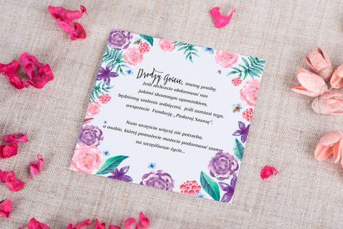 wkładka do zaproszenia fioletowo-różowego