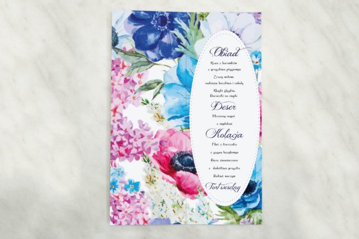 menu weselne z kolorowymi kwiatami
