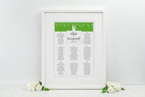 tablica plan stołów weselnych zielony colors