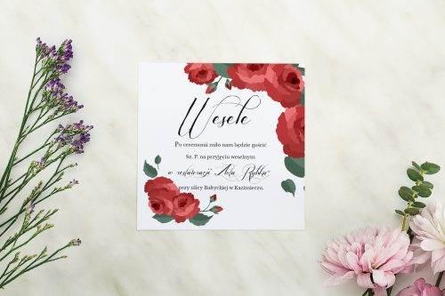 Wianki z kokardą - Bordowe róże - karteczka