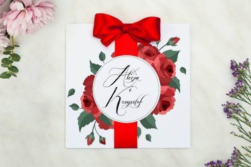 zaproszenie ślubne bordowe róże