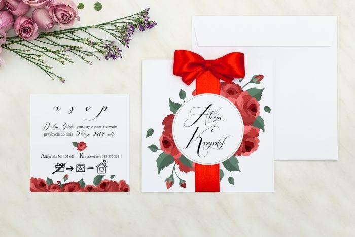 Wianki z kokardą - Bordowe róże - zaproszenie z dodatkową karteczką
