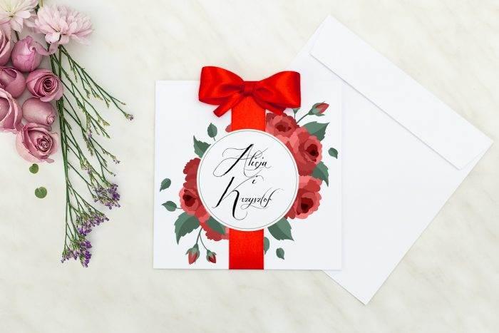 Wianki z kokardą - Bordowe róże - zaproszenie z kopertą
