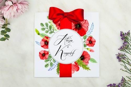 zaproszenie na ślub czerwone maki z kokardą wianki