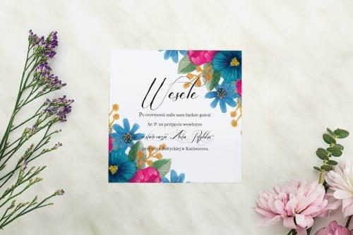 Wianki z kokardą - Granatowe petunie - karteczka