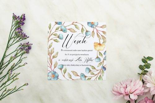 Wianki z kokardą - Kwiaty lnu - karteczka