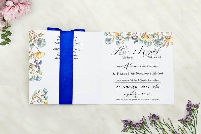 Wianki z kokardą - Kwiaty lnu - wnętrze zaproszenia