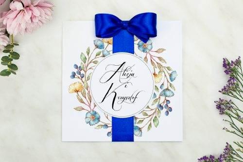 zaproszenie ślubne kwiaty lnu