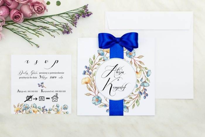 Wianki z kokardą - Kwiaty lnu - zaproszenie z dodatkową karteczką