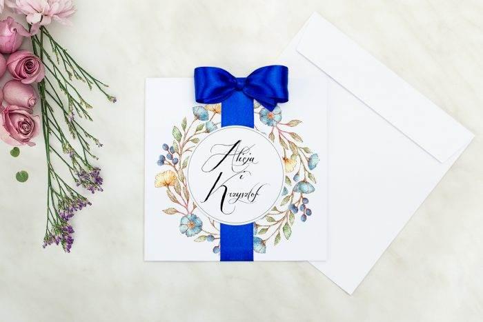 Wianki z kokardą - Kwiaty lnu - zaproszenie z kopertą