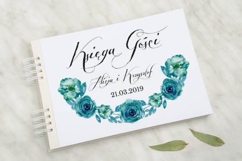Wianki z kokardą - Niebieskie róże - Księga Gości