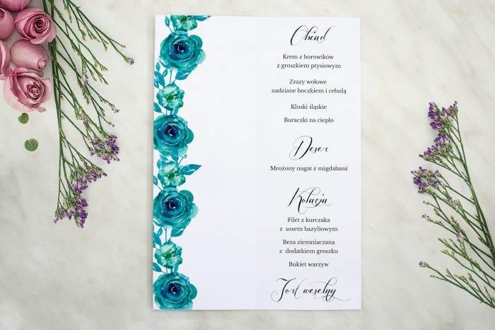 Wianki z kokardą - Niebieskie róże - MENU T