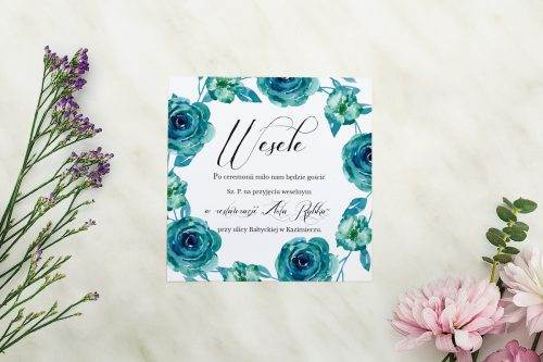 Wianki z kokardą - Niebieskie róże - karteczka
