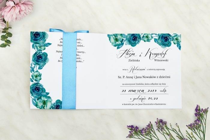 Wianki z kokardą - Niebieskie róże - wnętrze zaproszenia