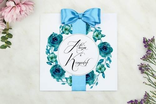 Wianki z kokardą - Niebieskie róże - zaproszenie