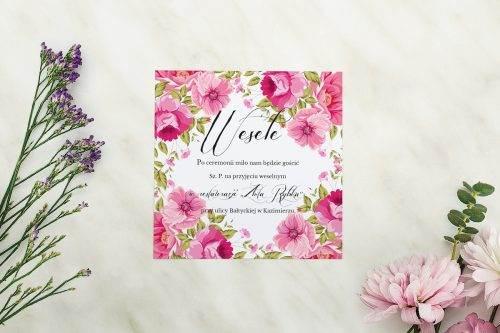 Wianki z kokardą - Ogrodowe róże - karteczka