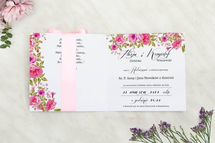 Wianki z kokardą - Ogrodowe róże - wnętrze zaproszenia