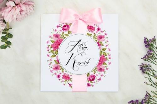 Wianki zaproszenie ślubne pudrowy róż ogrodowe róże